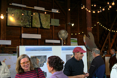 Climate mapping exhibit in Cox Reservation barn