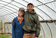 Iron Ox Farm principals Alex and Stacey in greenhouse