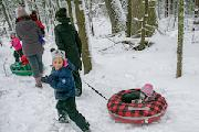 snow, children playing