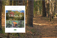 cover of fall newsletter TRAILS next to fall trail